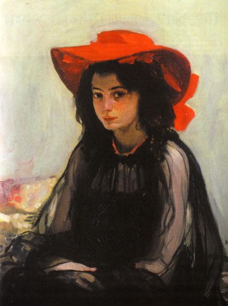 портрет дівчини у червоному капелюсі